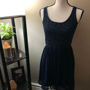 Rewind Blue Lace x Sheer Dress